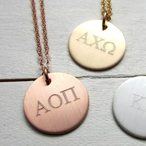 greek sorority letter necklace sorority lavalier charm With greek letter lavalier necklace