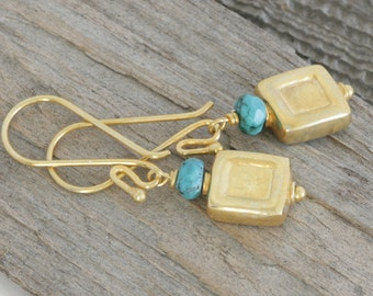 GOLD Vermeil and TURQUOISE Dangle Earrings