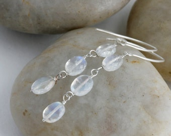 Cascading MOONSTONE Dangle Drop Sterling Silver Elegant Earrings // Natural Gems // luluglitterbug