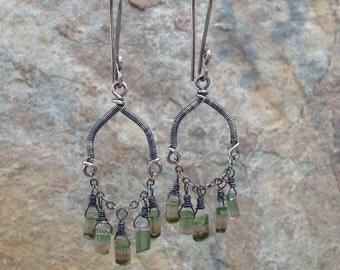 WATERMELON TOURMALINE earrings, chandelier earrings, dangle earrings, stterling silver