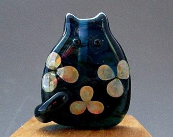 Handmade Lampwork Floral Cat Bead Focal - Wilma FatCat