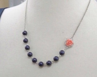 Navy Blue Coral and Silver Flower Bridesmaids Wedding Necklace