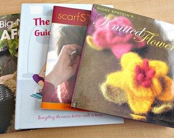 4 Knitting Pattern Books U Choose  - Knitted Flowers / Knitting Guide / Knit Crochet Scarves / Big Needle Afghans - 6.00 each U PICK