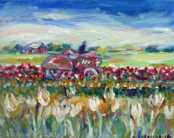 Black Cat Tractor tulips farm country oil painting