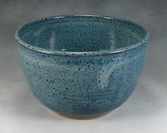 Small 6 Cup Blue Ceramic Bowl Hand Thrown Stoneware Pottery Mixing Bowl 4