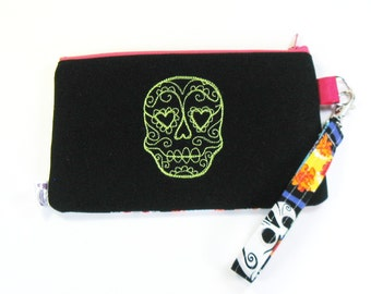 Wrist Purse / Wristlet Clutch / Cell Phone Wristlet - Embroidered Sugar Skull - Day of The Dead