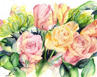Watercolor Rose Original Painting, Rose Art, Pink Rose Bouquet, Roses, Rose Decor, Rose Wall Hanging