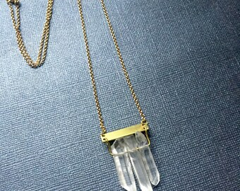Clear Quartz and Gold Necklace