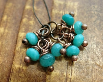 Amazonite and Antiqued Copper Bead Charms - 1 Pair - 8 pieces