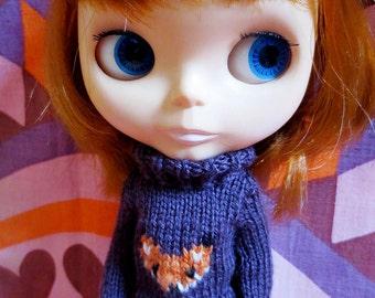 Handmade Blythe Fox Sweater Set - Purple