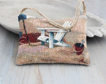 Coastal Cottage Lavender Sachet, Beach Decor, Beach Scene Tapestry, Door Hangar Sachet