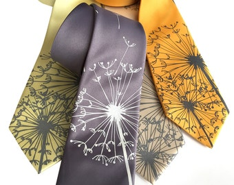 Dandelion Print Silk Necktie. Dandelion Wish, Dandelion Seed Silk Tie. Silkscreened floral print men's tie. Standard or narrow width.
