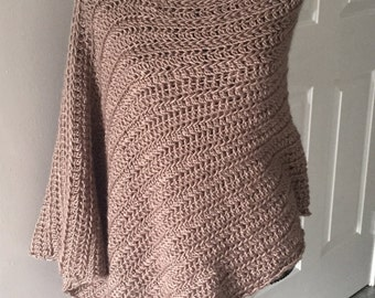 Taupe Asymmetrical Poncho with Black Buttons
