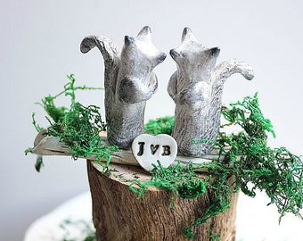 Clay Squirrels Cake Topper - Clay Squirrels - Woodland Cake Topper - Grey Clay Squirrels -  Rustic Wedding Cake Topper