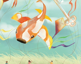 Kite nursery art print - alphabet illustration: K - A whimsical kite festival with koi, kangaroo & key kites - A4 fine art print