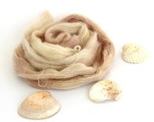 Hand dyed lace yarn, kid mohair silk variegated yarn skein, Perran Yarns knitting crochet wool, She Sells Seashells, neutral sand, uk seller
