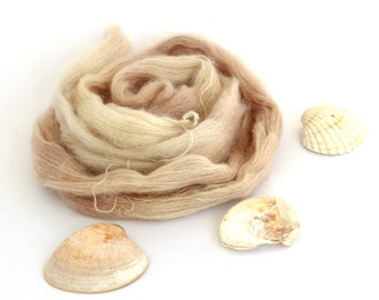 Hand dyed lace yarn, kid mohair silk variegated yarn skein, Perran Yarns knitting crochet wool, She Sells Seashells, neutral sand, uk seller