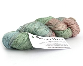 Pastel 4ply silk seacell yarn, handdyed variegated skein, luxury fingering knitting crochet yarn, Perran Yarns Years Gone By pink green blue