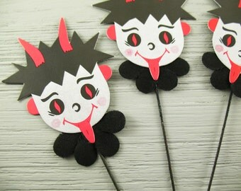 Krampus Devil on Wire - Die Cut Paper - Halloween Christmas - Vintage Style - 2 Pieces