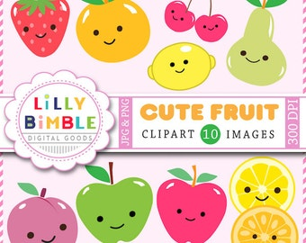 80% off Cute Fruit clipart kawaii apples, lemon, plum, strawberry, cherry, pear in PNG and jPG INSTANT Download