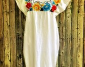Vintage Mexican Dress/ 80s Mexican Dress/