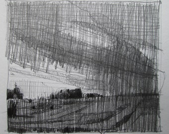 Overhead, Original Autumn Pencil Landscape Drawing, Stooshinoff