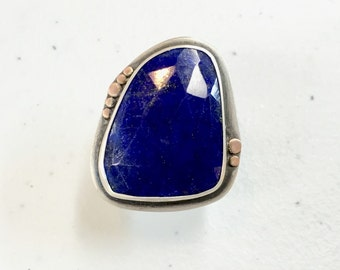 Stunning Sterling and Rose Gold Lapis Ring