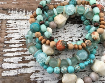 Beaded Stack Bracelets-Glass and Wood-Cuff Accessories-Boho Style