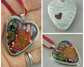Sterling Heart Jewelry, Dichroic Glass Heart Necklace, Sterling Pendant with Tiny Heart Reverse Cutout, Multicolor Glass Heart