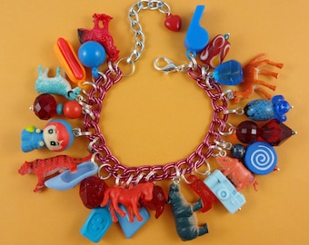 Red and Blue Charm Bracelet - kitsch cute quirky, gumball bracelet, retro rockabilly, Harajuku Decora, orange turquoise, repurposed toys fun