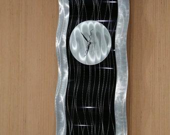 Black & Silver Contemporary Metal Clock Decor, Abstract Hanging Wall Clock, Handmade Modern Metal Art Accent - Black Willow by Jon Allen