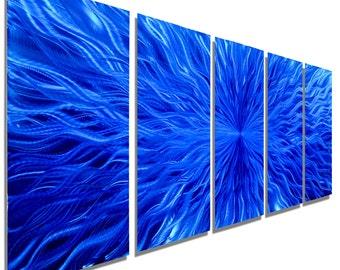 NEW! Blue Contemporary Wall Sculpture Painting, Modern Metal Wall Art, Large Abstract Metal Wall Decor - Blue Vortex by Jon allen