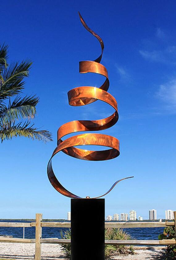 Contemporary Copper Metal Sculpture - Indoor-Outdoor Modern Garden Decor - Large Handmade Abstract Yard Art - Copper Wisp by Jon Allen