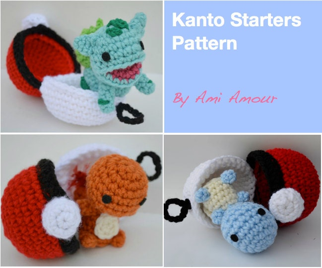 Amigurumi Tutorial Pokemon : Kanto Starters Crochet Pattern Set Amigurumi Pokemon