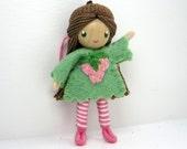 Acorn Bendy Doll- Waldorf Felt Doll- Woodland  Girl- Nature Table Doll- Small Miniature Bendy Doll- Felt Bendable Doll- Acorn Hat