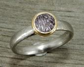 Purple Sapphire Ring - Fair Trade Montana Sapphire - Recycled 950 Palladium & 18k Yellow Gold, Engagement, Wedding, Right-Hand Ring - size 6