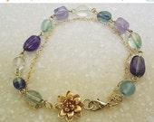 Valentine Monet Lotas Water lily bracelet Aquqmarine Amethyst Fluorite Golden Lotas Gemstone