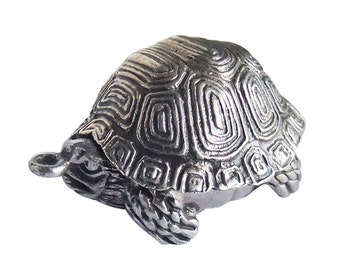 Sterling Silver Tortoise Trinket Box Pendant