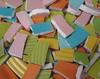 Mosaic Tiles Mixed Media Pieces Hand Cut Broken Plate Assortment Colors Mix Sherbert 300