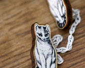 1896 Victorian Thinking Cat Vintage Inspired Detachable Wooden Collar Clip Brooch Pin (02)