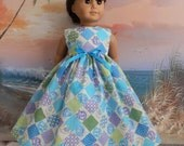 Sale American Girl Doll Clothes Dress Romantic Turquoise and Lavender Patchwork Floral Medley Long