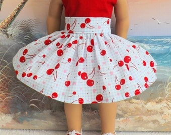 American Girl Doll Clothes Blue and White Gingham with Red Cherries Very Fully Gathered 50s Style Skirt with Waistband Medley NEW Style