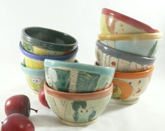 Small ceramic bowl - One Prep bowl - for cooking and food preparation - small 1 cup bowl - fiesta colors