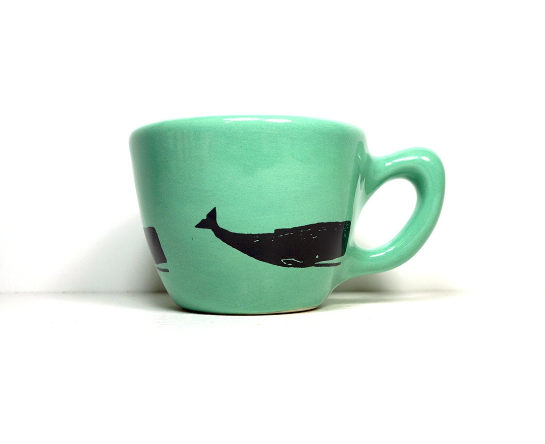 12oz cup with the animal of your choice, shown here in blue green with a whale print - Pick Your Colour / Pick Your Print