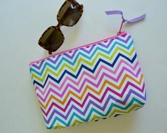 Chevron Zipper Pouch - Multicolored Make up bag - Chevron Cosmetic Pouch - Pink purple green pouch