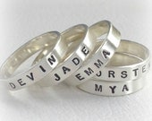 Personalized Name Ring, Sterling Silver Stacking Ring Matte or Shiny finish