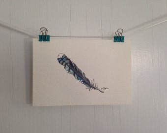 Original Blue Jay Feather Watercolor Painting, Small Feather Painting, Feather Watercolor, Small Postcard Painting, Wall Decor, 4 x 6 inches