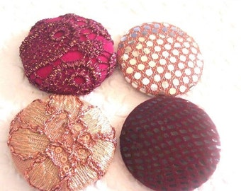 CLEARANCE Berry button, wine buttons,  fabric covered buttons , embroidered buttons, size 75 buttons, PRICE PER Button