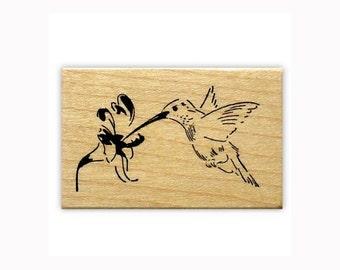 Hummingbird - mounted rubber stamp, humming bird, summer, flower, Sweet Grass Stamps No.9