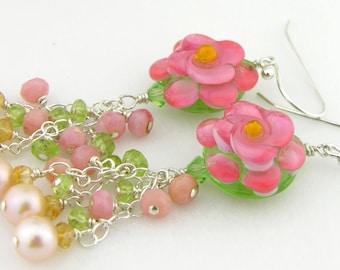 Pink flower lampwork earrings opal peridot citrine sterling silver pearl cserpentDesigns